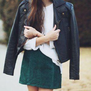 NWT Stunning Emerald Green Velvet Mini Skirt - 14